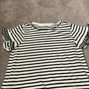 Loft striped t with ruffle sleeves